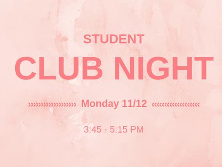 Student Club Night - Monday 11/12