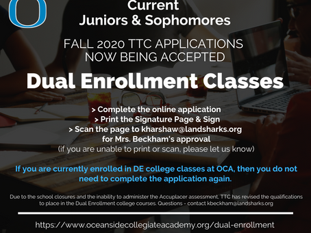 Dual Enrollment Applications - Fall 2020