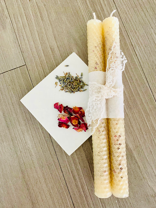 Set of Honeycomb Beeswax Candles with Herbs