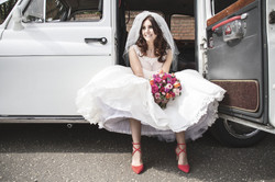 white Fairway taxi for wedding hire