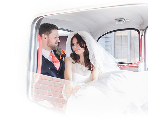 white Fairway wedding taxi for hire East London