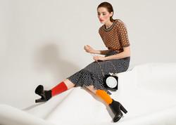 model sitting modeling shoes