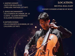 5th of March, Verdy Guo- Cello Recital! Come and Enjoy !