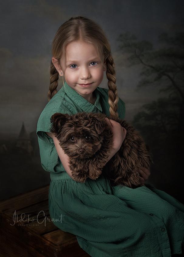 pige med hund - studiefoto