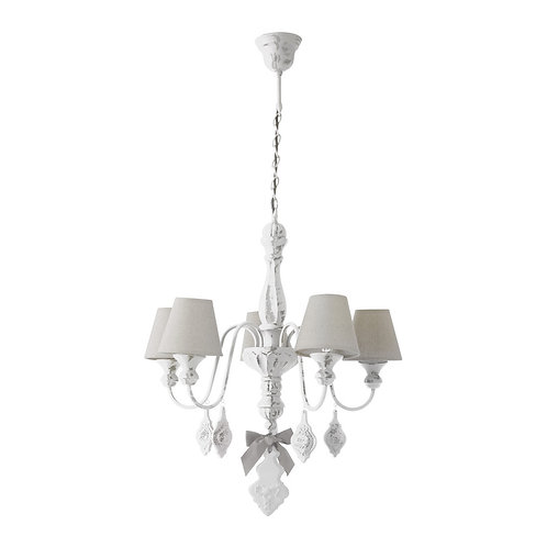 Chandelier white with 5 lamps