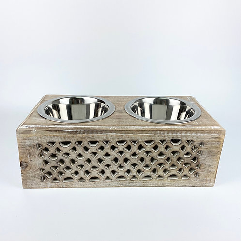 Handcrafted wooden Pet Feeder No.007 - size S
