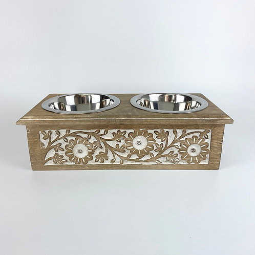 Handcrafted wooden Pet Feeder No.053 - size S