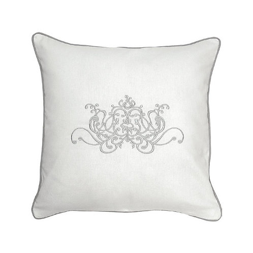 Embroidered cushion Douce Arabesque white