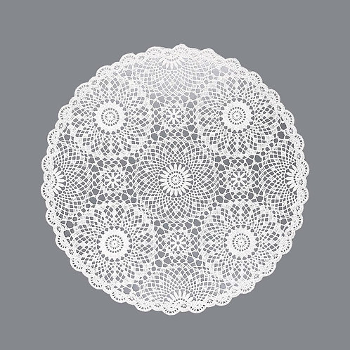 Placemat Lace Round - White