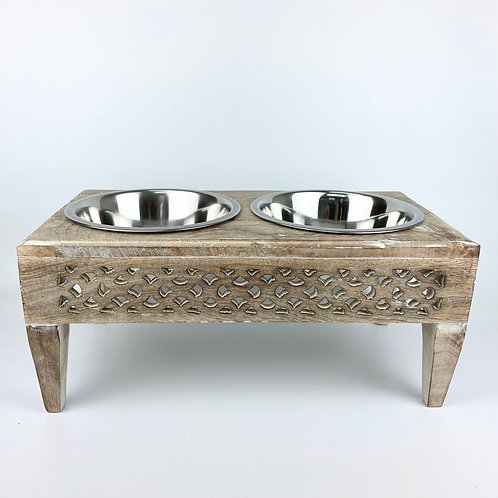 Handcrafted wooden Pet Feeder No.007 - size M