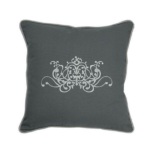Embroidered cushion Douce Arabesque grey