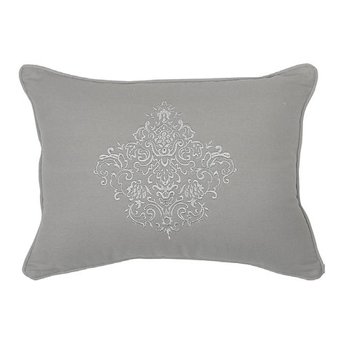 Embroidered cushion Cachemire grey