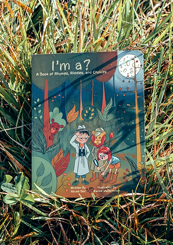 Cover of rhyming stories for kids I'm a? with a boy in a detective suit, a girl, and a lion in the middle of the forest.