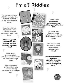 I'm a Positive Kid's riddles for kids printable PDF download of a fun multiple-choice worksheet activity for preschoolers and kindergarteners, containing riddles about a bear, lion, horse and more.