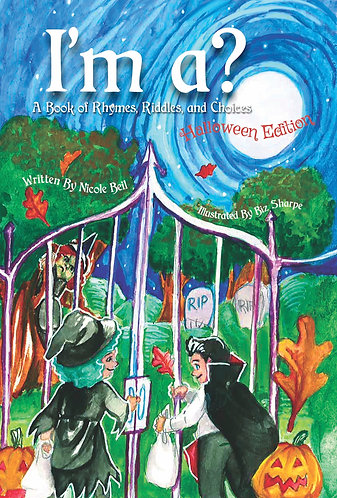 Best Halloween Read Alouds for Kids Book I'm a? A Book of Rhymes Riddles and Choices with Girl and Boy in Front of a Cemetery