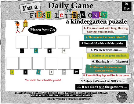 """I'm a Positive Kid's free printable pdf activities, First Letters Only, a kindergarten word game and worksheet. Solve the puzzle """"Places You Go"""" by first solving the clues on the right."""