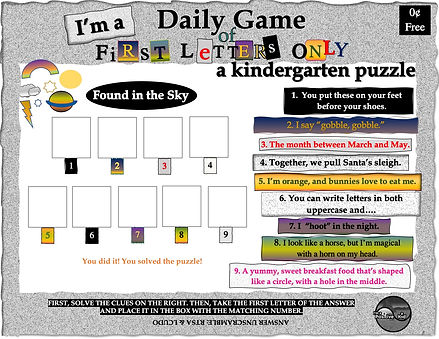 """I'm a Positive Kid's free printable pdf activities, First Letters Only, a kindergarten word game and worksheet. Solve the puzzle """"Things at the Beach"""" by first solving the clues on the right."""