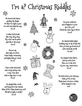 I'm a Positive Kid's free printable PDF download of Christmas riddles for kids in a fun multiple-choice worksheet activity for preschool and kindergarten containing riddles about Santa, a snowman, reindeer and more.