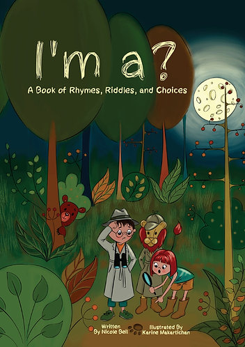 New Children's Picture Riddle Book With a Boy, Girl, and Lion Dressed Up as Detectives in a Forest Night Scene with the Moon