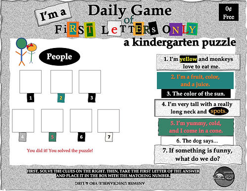 I'm a Positive Kid's First Letters Only free puzzle game of beginning sounds and letters worksheets for kindergarten pdf