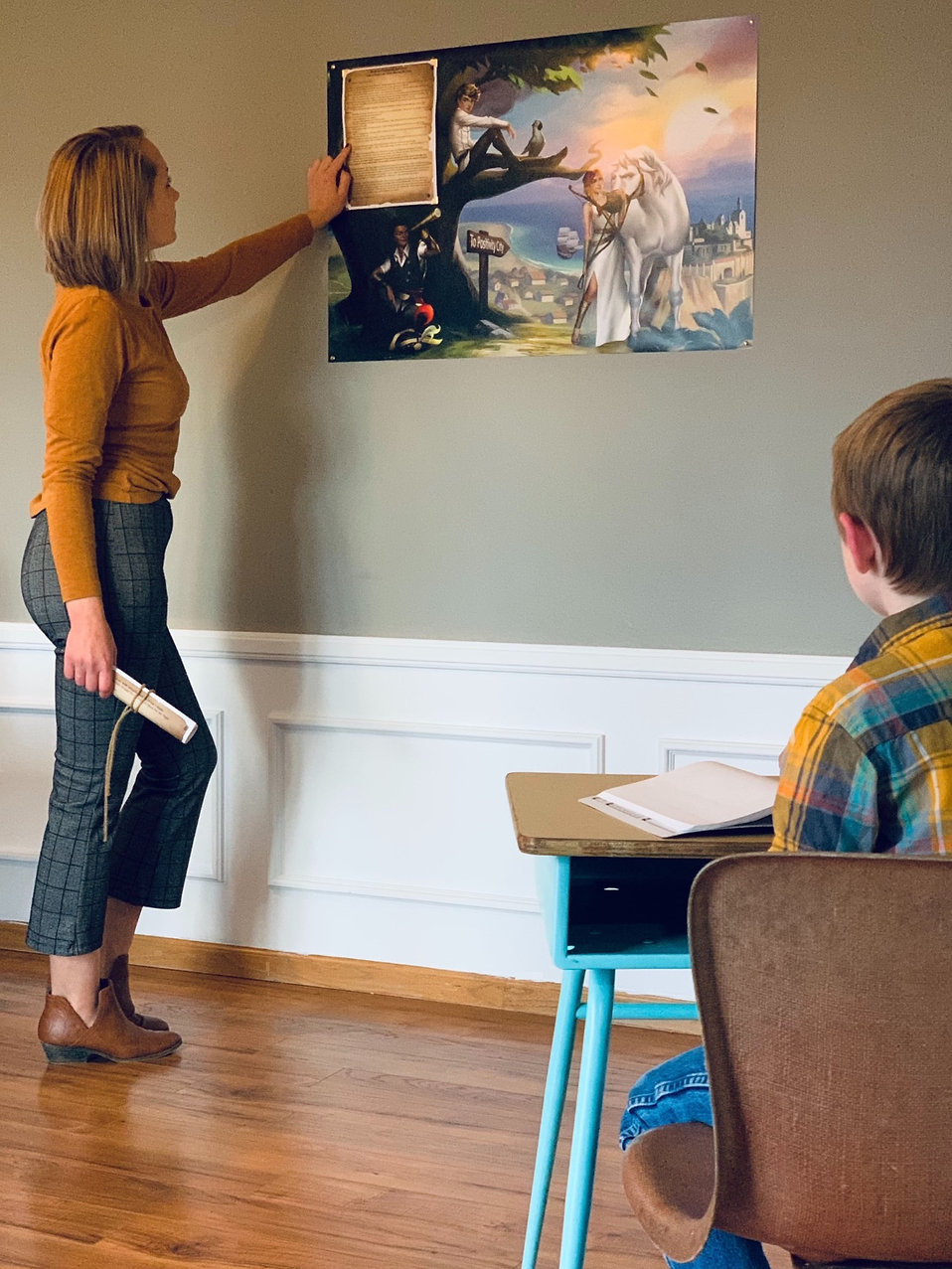 Woman teaching social emotional learning activities at home to give child a positive and growth mindset