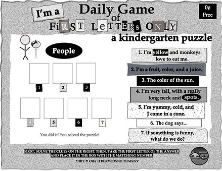 """I'm a Positive Kid's free printable pdf activities, First Letters Only, a kindergarten word game and worksheet. Solve the puzzle """"People"""" by first solving the clues on the right."""