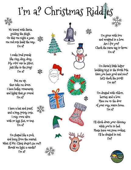 I'm a Positive Kid's printable PDF download of Christmas Riddles for Kids a fun multiple-choice worksheet activity for preschoolers and kindergarteners containing riddles about Santa, a snowman and reindeer.