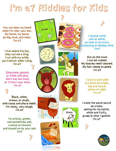 I'm a Positive Kid's free printable PDF download of riddles for kids in a fun multiple-choice worksheet activity made for preschoolers and kindergarteners, containing riddles about a bear, lion, horse and more.