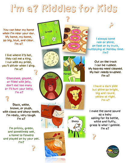 I'm a Positive Kid's activity I'm a Riddles for Kids multiple choice worksheet for preschool and kindergarten with animal trivia