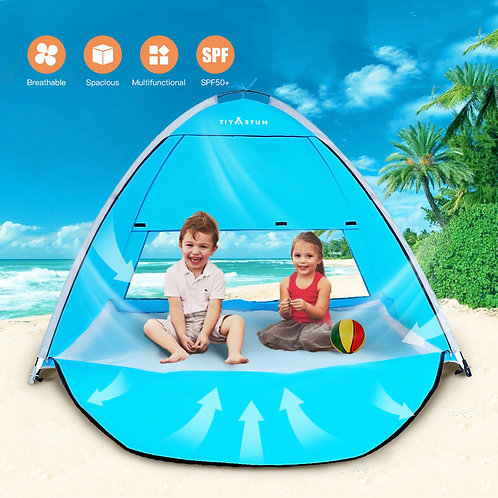 TIYASTUN Beach Tent Pop Up UV with Zipper Door Fold Up in Seconds, Beach Shade T