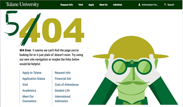Tulane Admissions 404 page