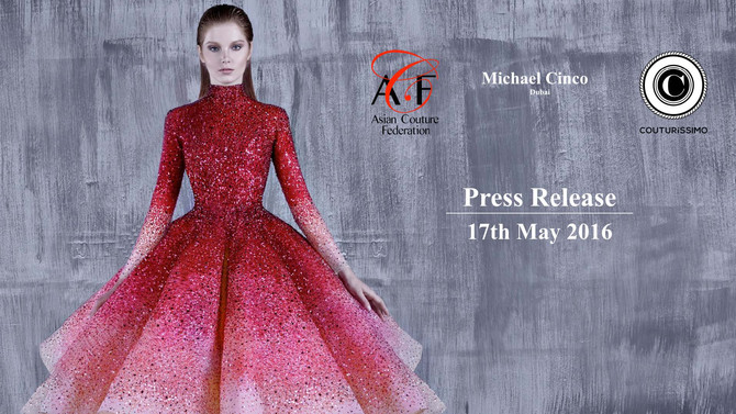 COUTURíSSIMO announces Michael Cinco to present during Paris' Haute Couture week at a private di