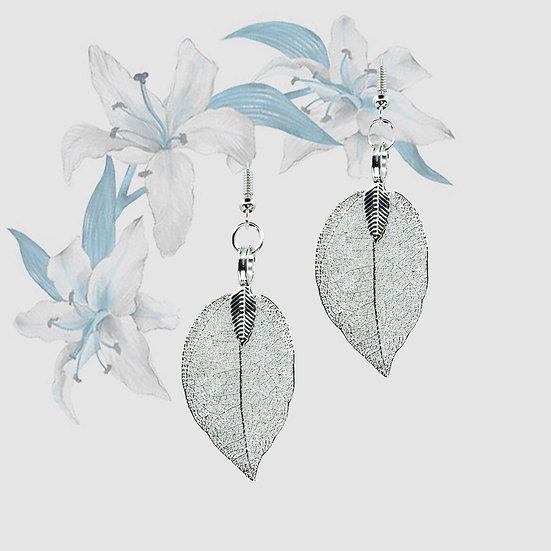 Natural Leaf Earrings - Silver