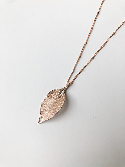 Natural Leaf Pendant - Rose Gold