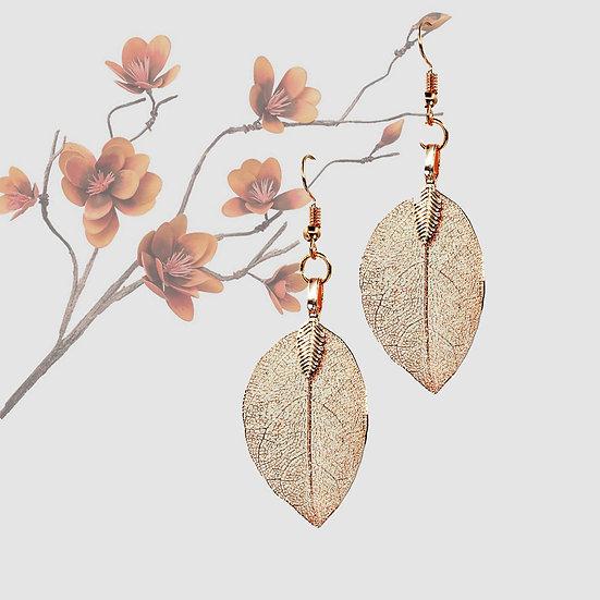 Natural Leaf Earrings - Rose Gold
