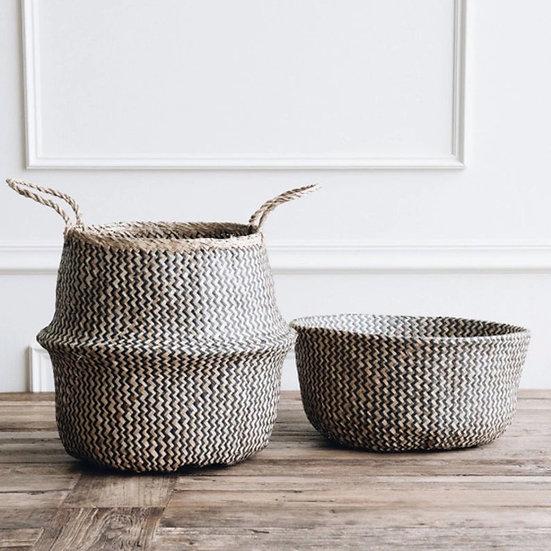 Seagrass Basket -Black & Natural Zig Zag