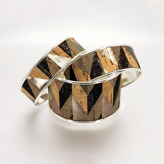 Geometric Silver Cuff - Portuguese Cork
