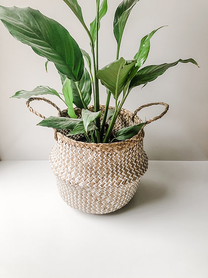 Seagrass Basket - Natural/White Zig Zag
