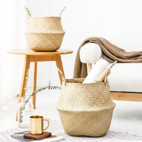 Handwoven Seagrass Basket - Natural