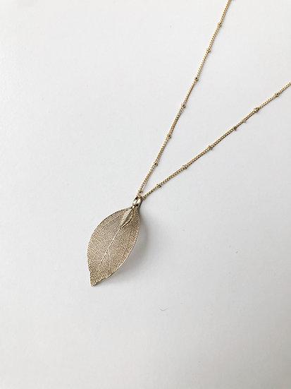 Natural Leaf Pendant - Gold