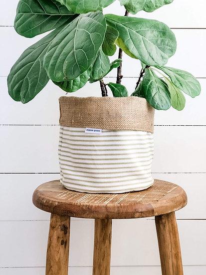 Handmade Plant Cover - Olive Stripe