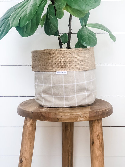 Handmade Plant Cover - Natural Check