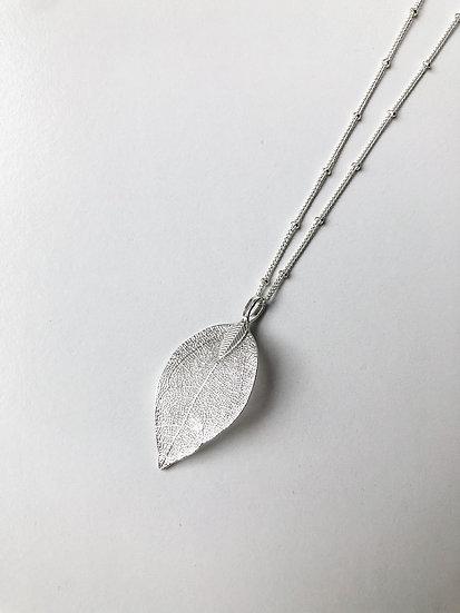 Natural Leaf Pendant - Silver