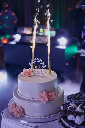 Karesz és Kriszti esküvői fotói, esküvőfotózás Aquaworld -menyasszonyi torta