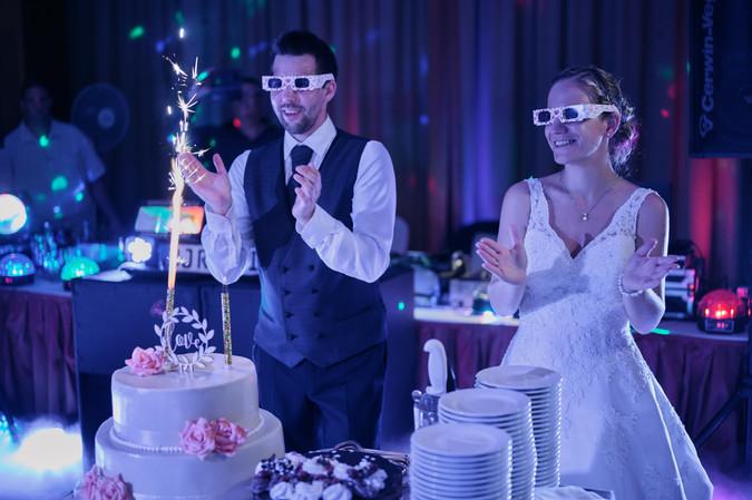 Karesz és Kriszti esküvői fotói, esküvőfotózás Aquaworld - tortavágás