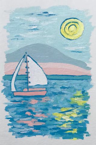 Pink Sail Open Seas