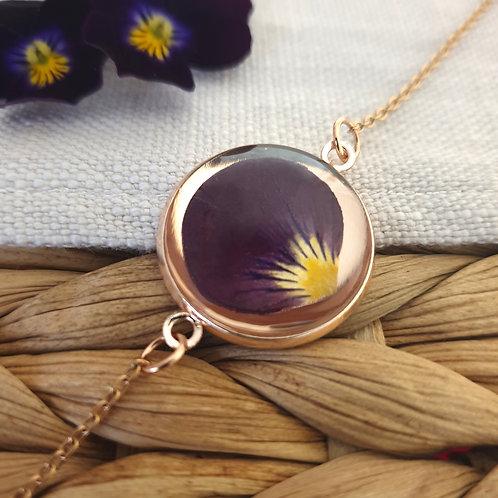 Bracelet Pétale de Pensée Violette Rosé