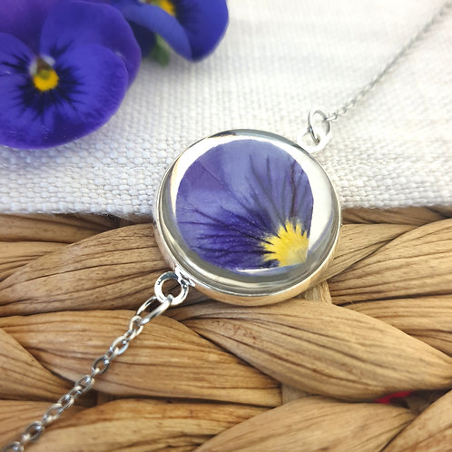 Bracelet Pétale de Pensée Bleue Argentée