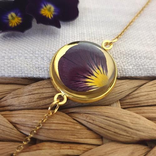 Bracelet Pétale de Pensée Violette Doré