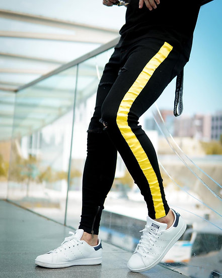 INTOLERAVEL YELLOW TAPPED JEANS